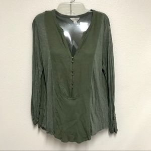 Lucky Brand Olive Green 3/4 Sleeve Blouse